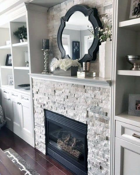 Bookcases Designs For Stacked Stone Gas Fireplace