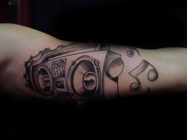 Boombox Guys Music Themed Inner Arm Tattoo Design Ideas