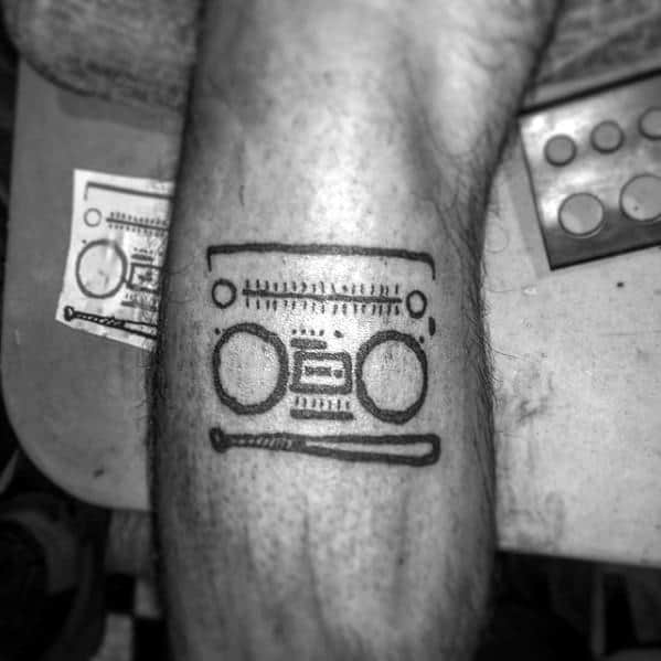 Boombox Guys Simple Music Leg Tattoo Designs