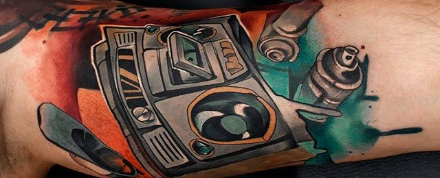 Boombox Tattoo Designs For Men