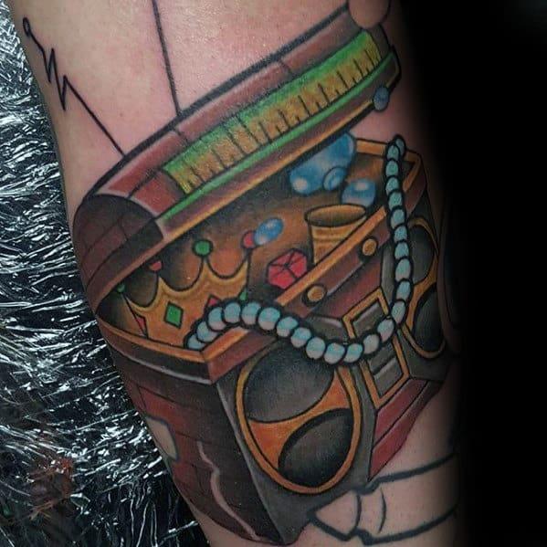 Boombox Treasure Chest Mens Retro Arm Tattoos