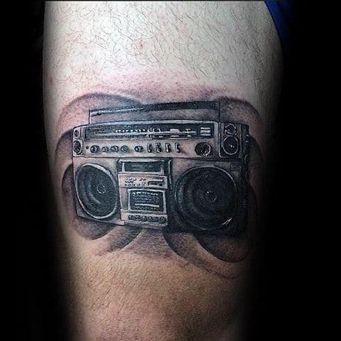Boombox With Sound Waves Mens Thigh Tattoo Designs