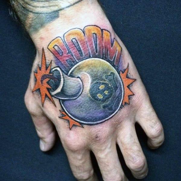 Booming Bomb Tattoo Guys Hands