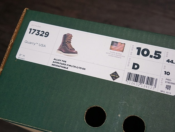 Boot Box Danner Quarry Brown Alloy Toe Wedge