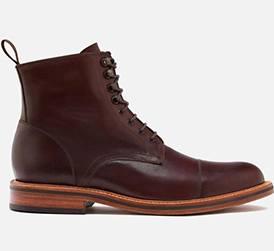 Bordeaux Calfskin Leather Beckett Simonon Bowler Cap Toe Boot Purchase
