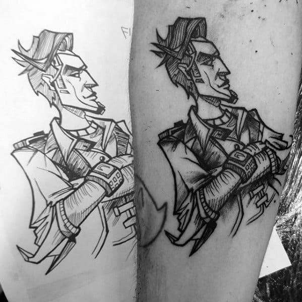 Borderlands Tattoo Design On Man