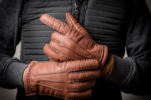 Borgasets Nappa Leather Quilted Checkered Winter Gloves For Men