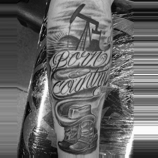 Born Country Cowboy Grey And Black Tattoo With Script For Men