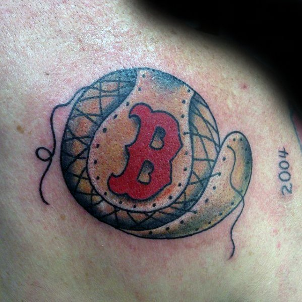 Boston Red Sox Tattoo Ideas For Males Old School Traditional Baseball On Shoulder
