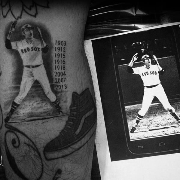 Boston Red Sox Tattoos For Gentlemen Baseball Player Portrait With Realistic Design