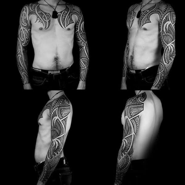 Both Arms Full Sleeve Male Samoan Tribal Tattoo Ideas