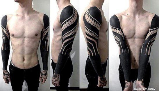 Both Arms Sleeve Male All Black Negative Space Tattoos