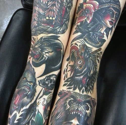 Both Legs Guys Traditional Tattoo Ideas For Sleeves