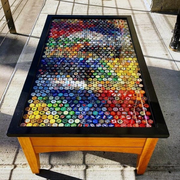 Bottle Cap Diy Man Cave Coffe Table Ideas