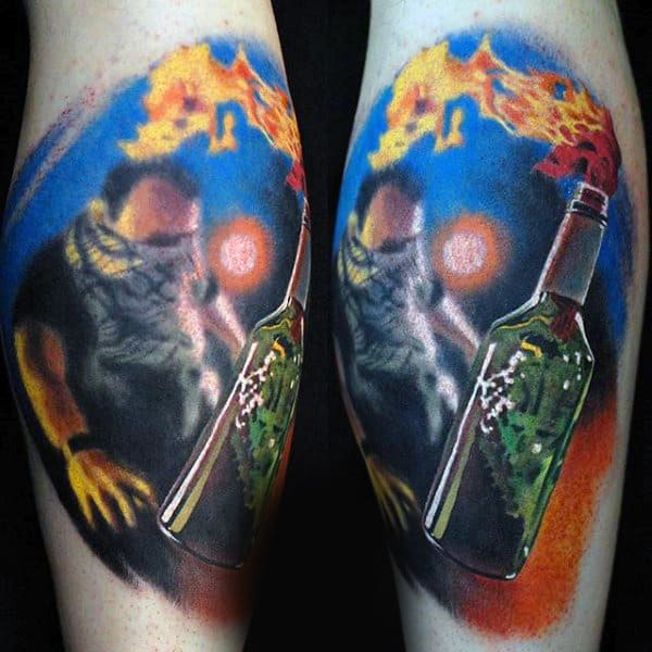 Bottle On Fire Mens Leg Calf Tattoo
