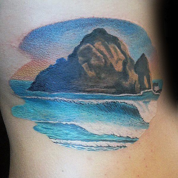 Boulder In Ocean Mens Landscape Beach Tattoos