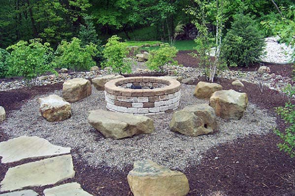 Boulder Seats Awesome Fire Pit Landscaping Ideas
