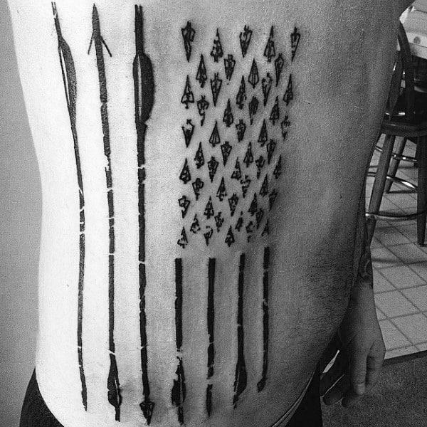 Bowhunting American Flag Rib Cage Side Of Body Arrow Tattoos