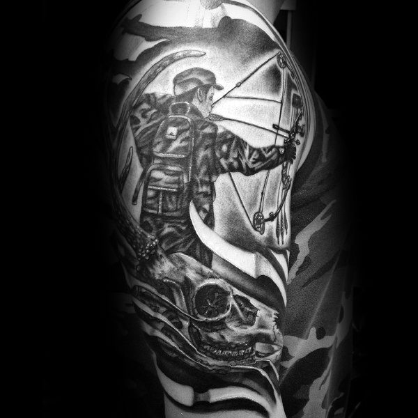 Bowhunting Mens Half Sleeve Tattoo Designs