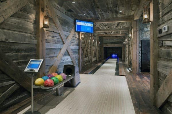 Bowling Alley Rustic Basement Ideas
