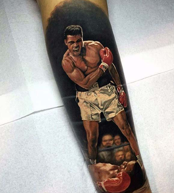 Boxer Badass Mens Forearm Tattoo With Realistic Design