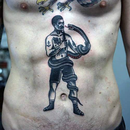 Boxer With Snake Old School Mens Traditional Chest Tattoos