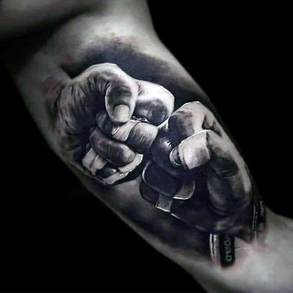 Boxers Two Hands Black Ink Mens Bicep Tattoo