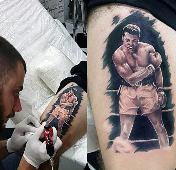 Boxing Glove Tattoo Designs For Guys Above Knee