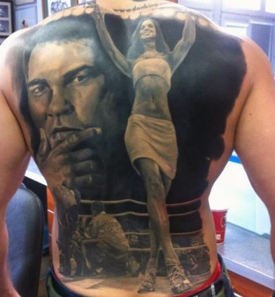 Boxing Glove Tattoo For Men On Back