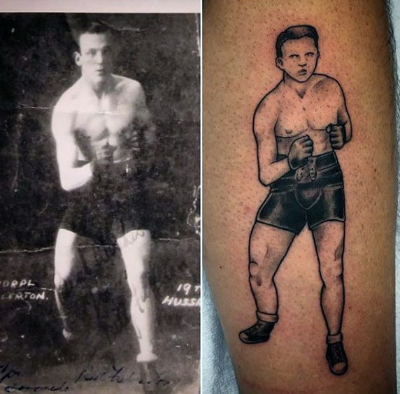 Boxing Grandpa Mens Tattoo