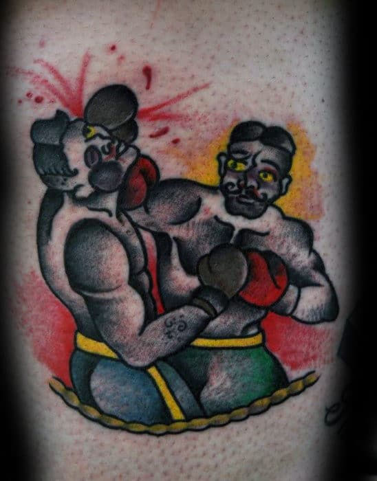 Boxing Match Mens Traditional Leg Tattoos