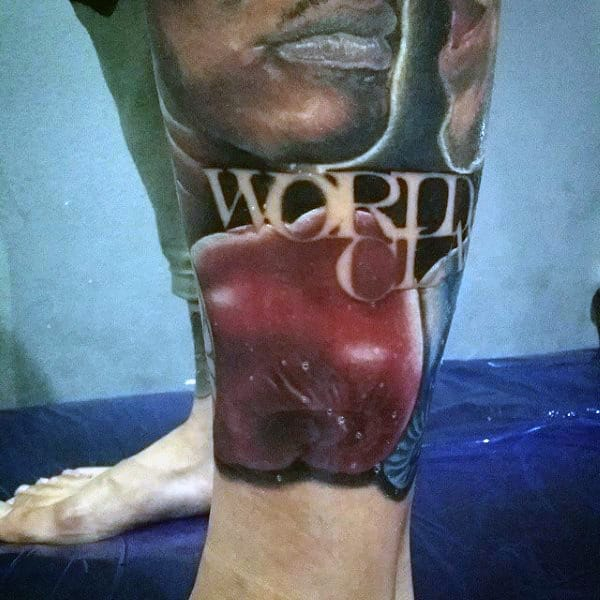 Boxing Tattoo Ideas For Guys On Lower Leg