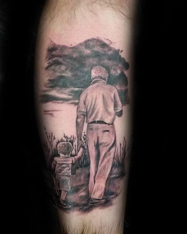 Boy With Grandfather Mens Leg Tattoo Design