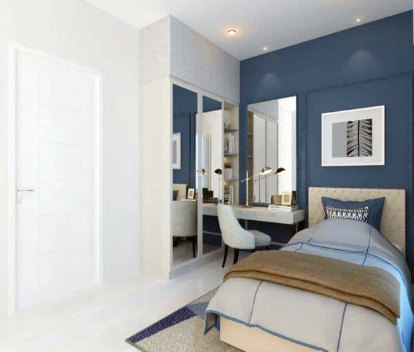 Top 50 Best Navy Blue Bedroom Design Ideas , Calming Wall Colors