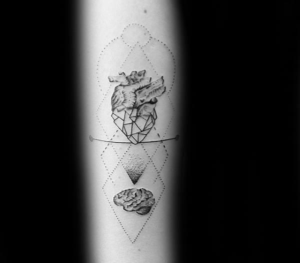 Brain And Geometric Heart Mens Arm Tattoo