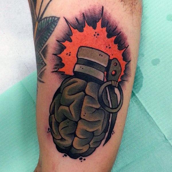 Brain Dynamite Tattoo Male Arms