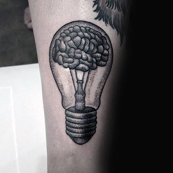 Brain Light Bulb Guys Forearm Tattoo With Dotwork Design