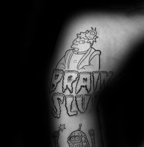 Brain Slug Mens Futurama Tattoo On Leg