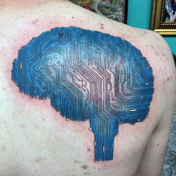 Brain Tattoo With Circuit Design Tattoo Male Chest