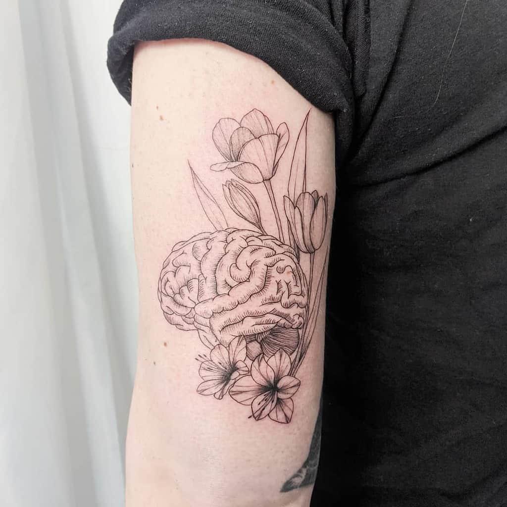 Brain Tulip Tattoo