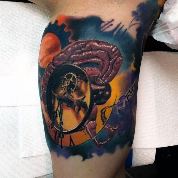 Brain With Clock Gears Colorful Mens 3d Inner Arm Tattoos