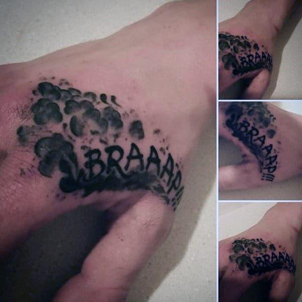 Brap Motocross Sound Hand Tattoo For Men