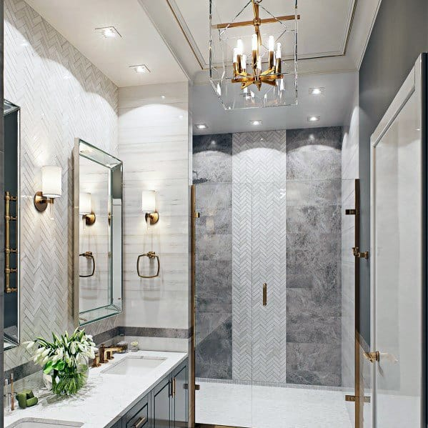 Brass Chandelier Design Ideas For Bathroom Lighting