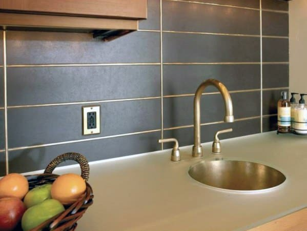 Brass Grout Detail Metal Backsplash Ideas