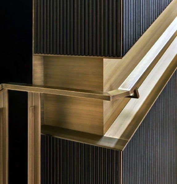 Brass Stunning Interior Flush Staircase Railing Designs