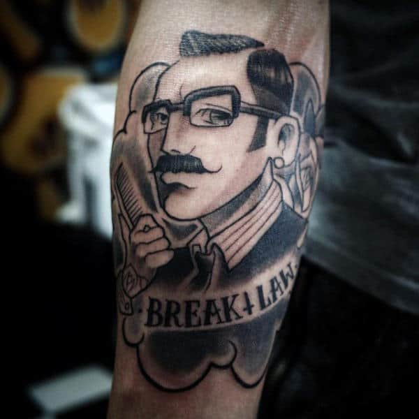 Break Law Barber Tattoo On Outer Forearm For Men