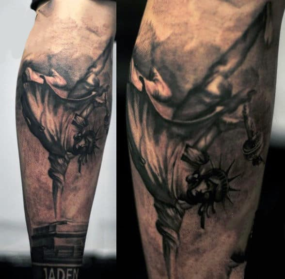 Breakdacing Statue Of Liberty Mens Tattoo On Elbow