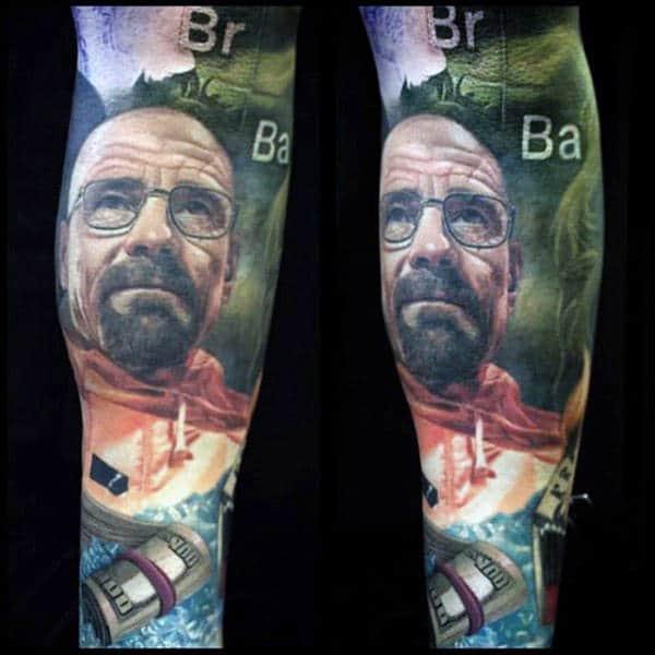 Breaking Bad Themed Sleeve Tattoo Design Ideas For Gentlemen