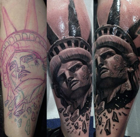 Breaking Statue Of Liberty Head Tattoo For Men