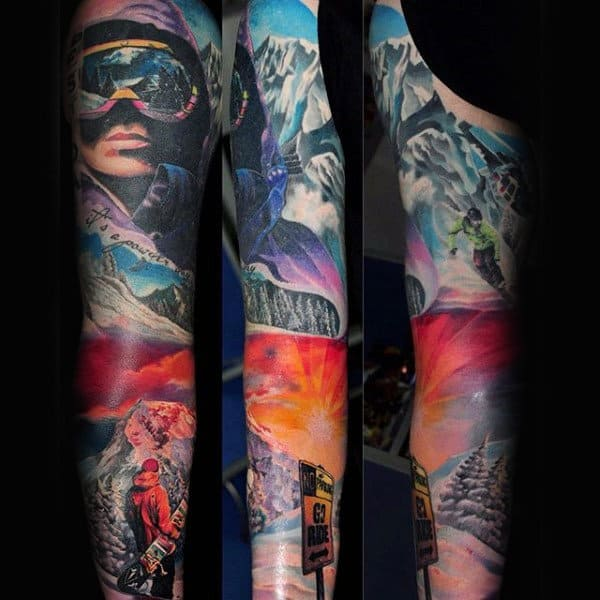 Breathtaking Snow Board Tattoo Mens Full Sleeves